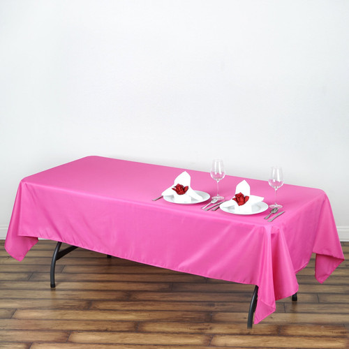 Fuchsia 100% Polyester Rectangular Tablecloth 60 x 102""