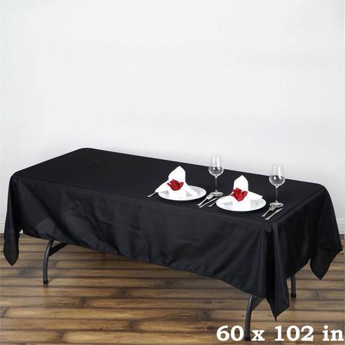 "Black 100% Polyester Rectangular Tablecloth 60"" x 126"""