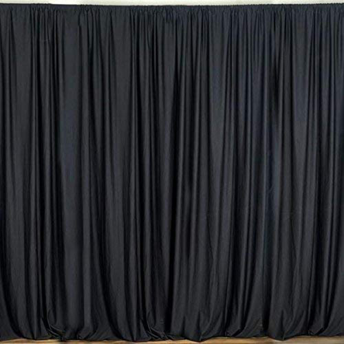 2 Pack | 10 Feet Polyester Backdrop Drapes Curtains Panels with Rod Pockets - Wedding Ceremony Party Home Window Decorations - Black