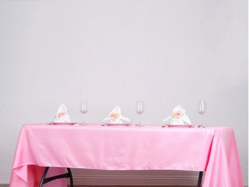 Pink 100% Polyester Rectangular Tablecloth 60 x 102""