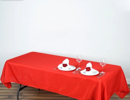 Red 100% Polyester Rectangular Tablecloth 60 x 102""