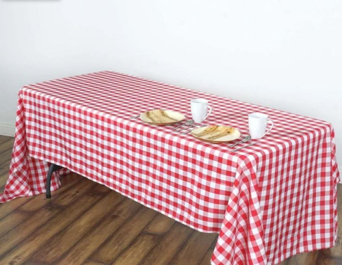 Red & White Checker 100% Polyester Rectangular Tablecloth 60 x 102""