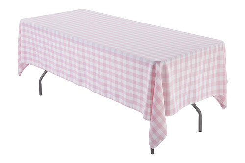 Pink & White Checker 100% Polyester Rectangular Tablecloth 60 x 102""