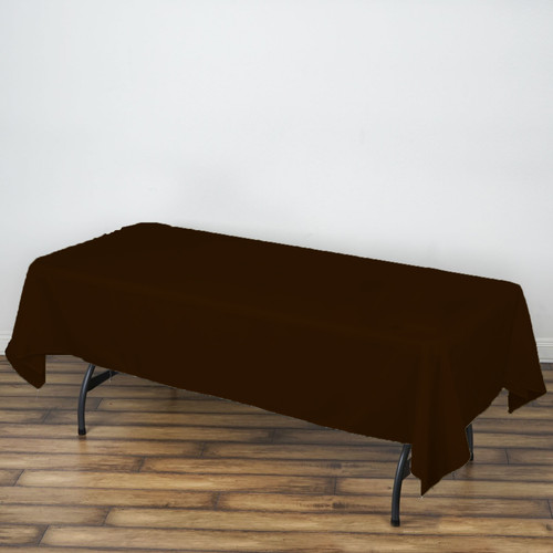 "Brown 100% Polyester Rectangular Tablecloth 60"" x 126"""