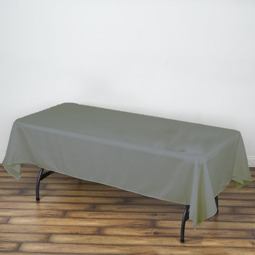 "Gray 100% Polyester Rectangular Tablecloth 60"" x 126"""