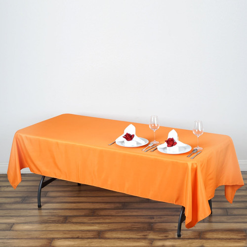 "Orange 100% Polyester Rectangular Tablecloth 60"" x 126"""