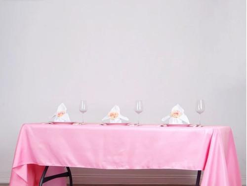 "Pink 100% Polyester Rectangular Tablecloth 60"" x 126"""