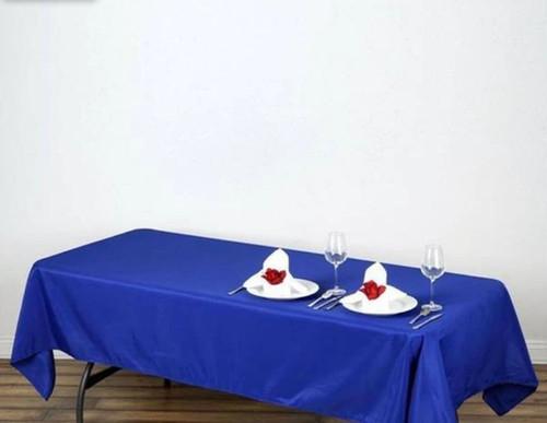"Royal Blue 100% Polyester Rectangular Tablecloth 60"" x 126"""
