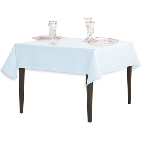 "Baby Blue Square Polyester Overlay Tablecloth 54"" x 54"""