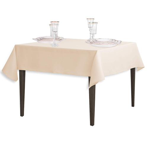 "Beige Square Polyester Overlay Tablecloth 54"" x 54"""