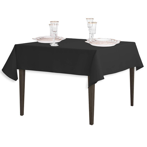 "Black Square Polyester Overlay Tablecloth 54"" x 54"""