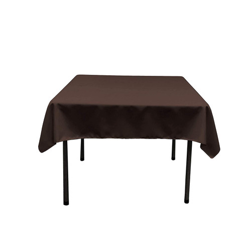 "Dark Brown Square Polyester Overlay Tablecloth 54"" x 54"""