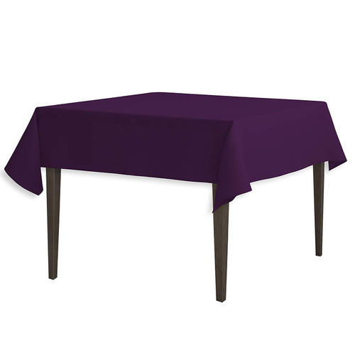 "Eggplant Square Polyester Overlay Tablecloth 54"" x 54"""