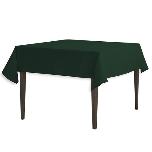 "Hunter Green Square Polyester Overlay Tablecloth 54"" x 54"""