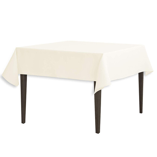"Ivory Square Polyester Overlay Tablecloth 54""x54"""