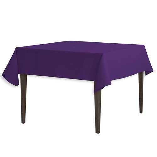 "Purple Square Polyester Overlay Tablecloth 54"" x 54"""