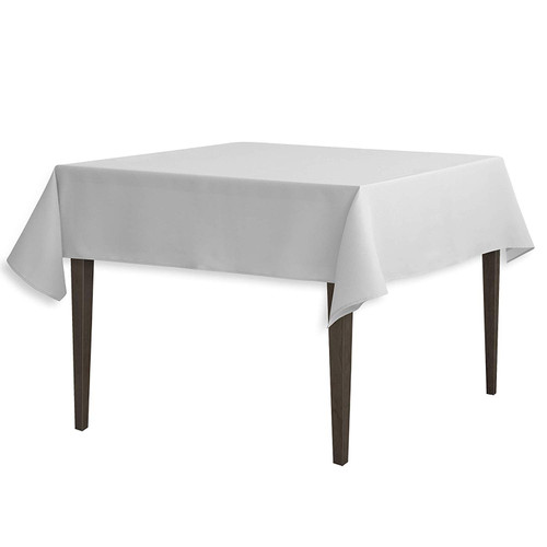 "Silver Square Polyester Overlay Tablecloth 54"" x 54"""