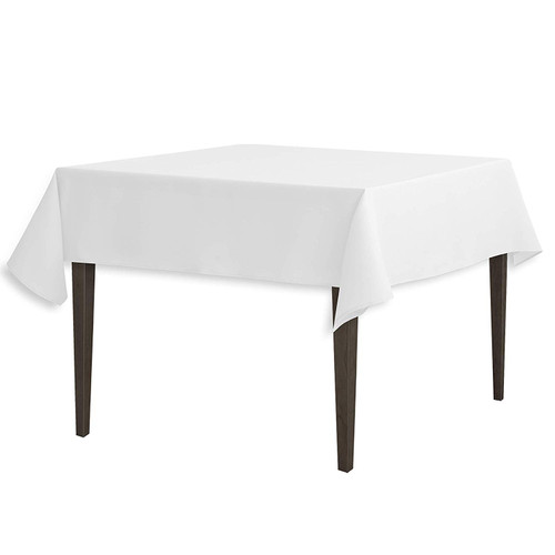 """White Square Polyester Overlay Tablecloth 54"""" x 54"""""""