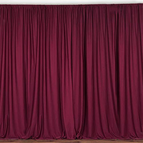 2 Pack | 10 Feet Polyester Backdrop Drapes Curtains Panels with Rod Pockets - Wedding Ceremony Party Home Window Decorations - Burgundy