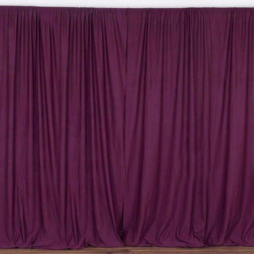 2 Pack | 10 Feet Polyester Backdrop Drapes Curtains Panels with Rod Pockets - Wedding Ceremony Party Home Window Decorations - Eggplant
