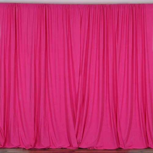 2 Pack | 10 Feet Polyester Backdrop Drapes Curtains Panels with Rod Pockets - Wedding Ceremony Party Home Window Decorations - Fuchsia