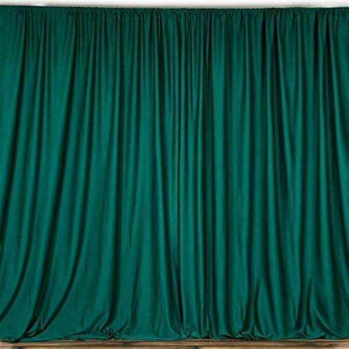 2 Pack | 10 Feet Polyester Backdrop Drapes Curtains Panels with Rod Pockets - Wedding Ceremony Party Home Window Decorations - Hunter Green