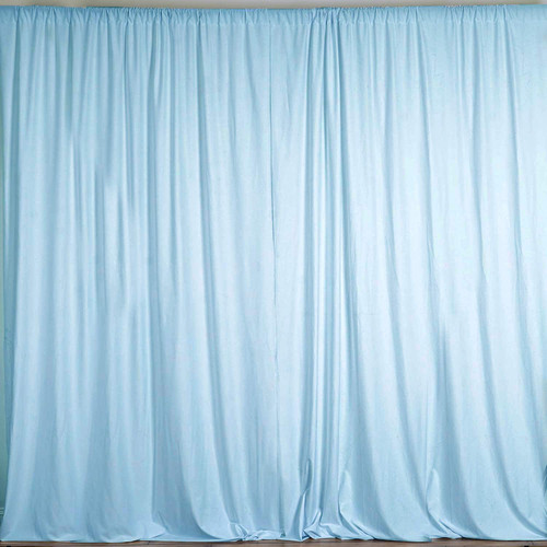 2 Pack | 10 Feet Polyester Backdrop Drapes Curtains Panels with Rod Pockets - Wedding Ceremony Party Home Window Decorations - Light Blue