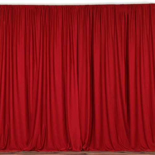2 Pack | 10 Feet Polyester Backdrop Drapes Curtains Panels with Rod Pockets - Wedding Ceremony Party Home Window Decorations - Red