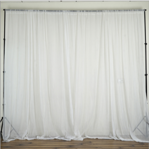 "120"" Wide (10Ft Wide) Sheer Voile Drape Panels - Select from 6ft to 50ft Length"