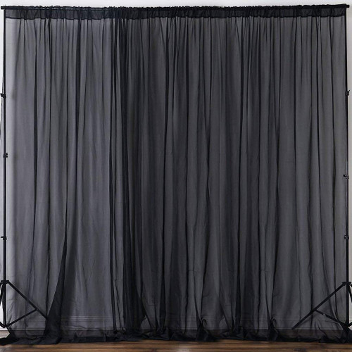 """Black 120"""" Wide (10Ft Wide) Sheer Voile Drape Panels - Select from 6ft to 50ft Length"""