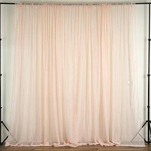 """Blush - 120"""" Wide (10Ft Wide) Sheer Voile Drape Panels - Select from 6ft to 50ft Length"""