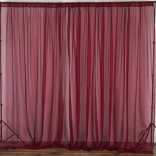 """Burgundy - 120"""" Wide (10Ft Wide) Sheer Voile Drape Panels - Select from 6ft to 50ft Length"""