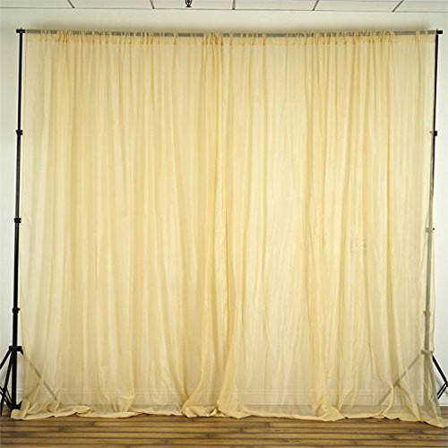 """Champagne -  120"""" Wide (10Ft Wide) Sheer Voile Drape Panels - Select from 6ft to 50ft Length"""