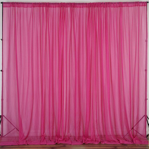 """Fuchsia - 120"""" Wide (10Ft Wide) Sheer Voile Drape Panels - Select from 6ft to 50ft Length"""