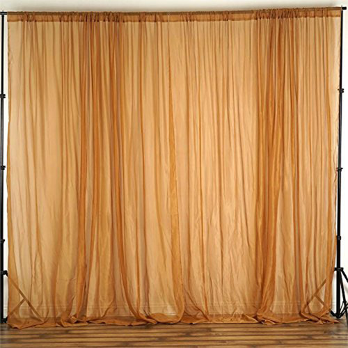 """Gold - 120"""" Wide (10Ft Wide) Sheer Voile Drape Panels - Select from 6ft to 50ft Length"""