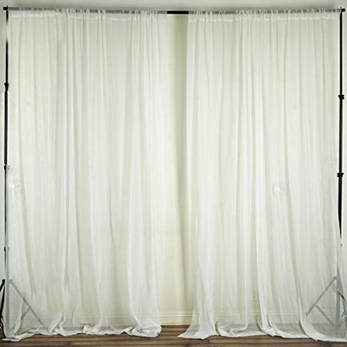 """Ivory - 120"""" Wide (10Ft Wide) Sheer Voile Drape Panels - Select from 6ft to 50ft Length"""