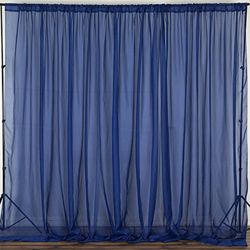 """Navy - 120"""" Wide (10Ft Wide) Sheer Voile Drape Panels - Select from 6ft to 50ft Length"""