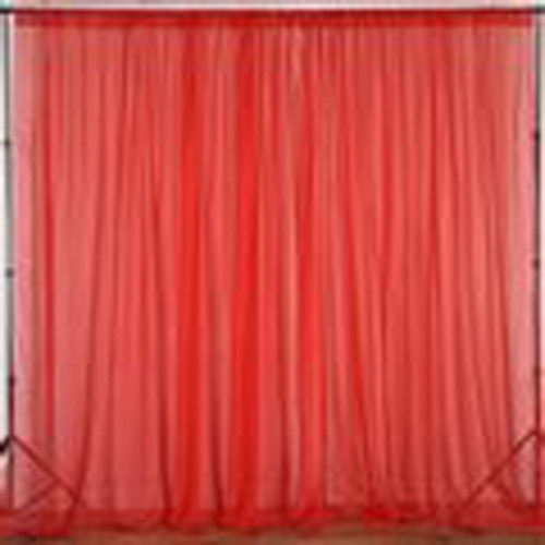 """Red - 120"""" Wide (10Ft Wide) Sheer Voile Drape Panels - Select from 6ft to 50ft Length"""