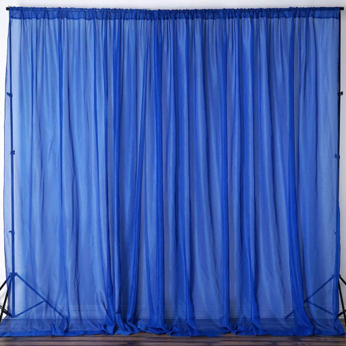 """Royal Blue - 120"""" Wide (10Ft Wide) Sheer Voile Drape Panels - Select from 6ft to 50ft Length"""