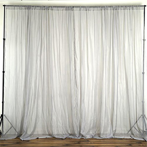 """Silver -  120"""" Wide (10Ft Wide) Sheer Voile Drape Panels - Select from 6ft to 50ft Length"""