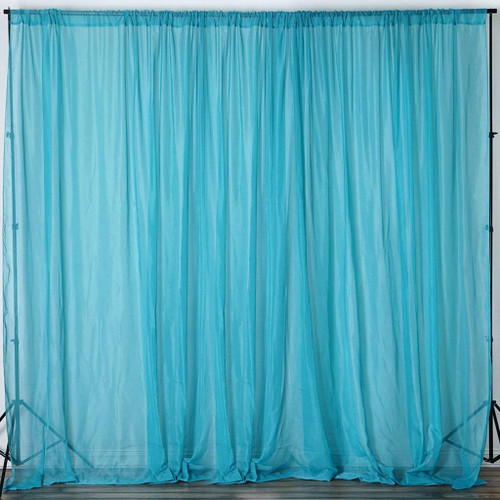 """Turquoise - 120"""" Wide (10Ft Wide) Sheer Voile Drape Panels - Select from 6ft to 50ft Length"""