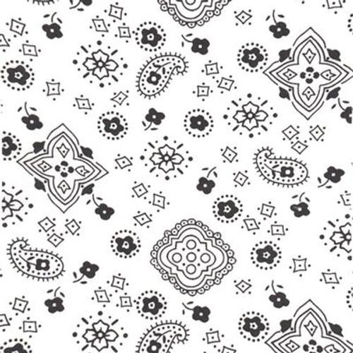 White Paisley Bandana Poly Cotton Fabric