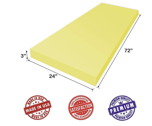 """3"""" x 24"""" x 72"""" Dry Fast Reticulated Outdoor Foam - Perfect for Long Term Outdoor Patio Furniture use."""