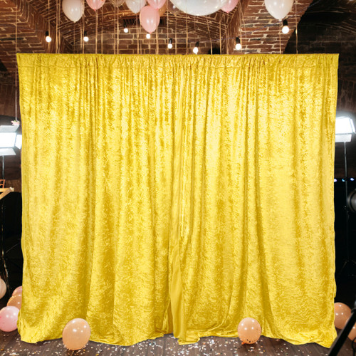 2 Pack | 10 Feet Lush Velvet Backdrop Drapes Curtains Panels with Rod Pockets - Wedding Ceremony Party Home Window Decorations - YELLOW