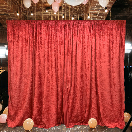 2 Pack | 10 Feet Lush Velvet Backdrop Drapes Curtains Panels with Rod Pockets - Wedding Ceremony Party Home Window Decorations - RED
