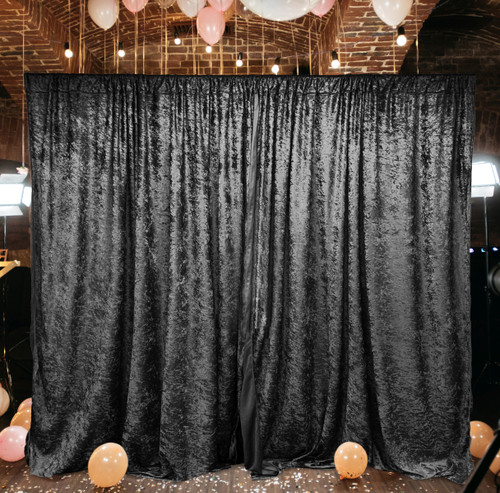 2 Pack | 10 Feet Lush Velvet Backdrop Drapes Curtains Panels with Rod Pockets - Wedding Ceremony Party Home Window Decorations - BLACK