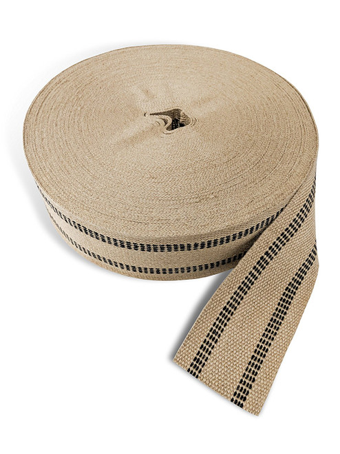 "AK Trading Co. Burlap Roll for Bagel Board, Upholstery & Crafts - Natural Jute Webbing (Burlap) - 3.5"" Wide x 72 Yards W/Black Stripes"
