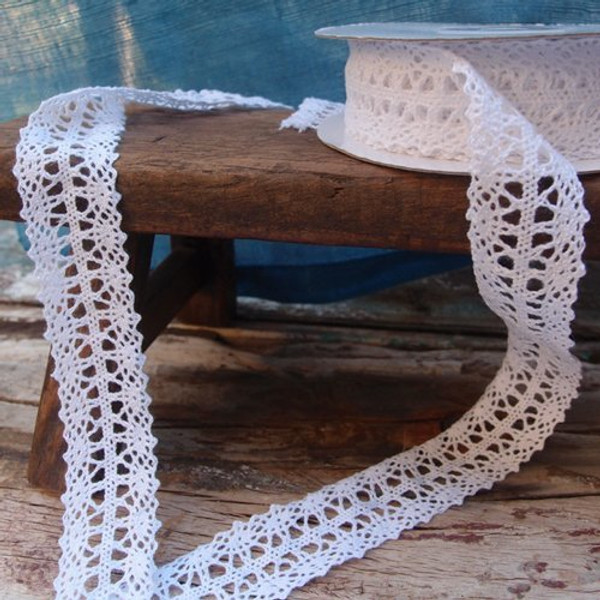 """1"""" wide x 10 yards White Floral Pattern Cotton Crochet Lace Ribbon for Decorating, Floral Designing and Crafts"""