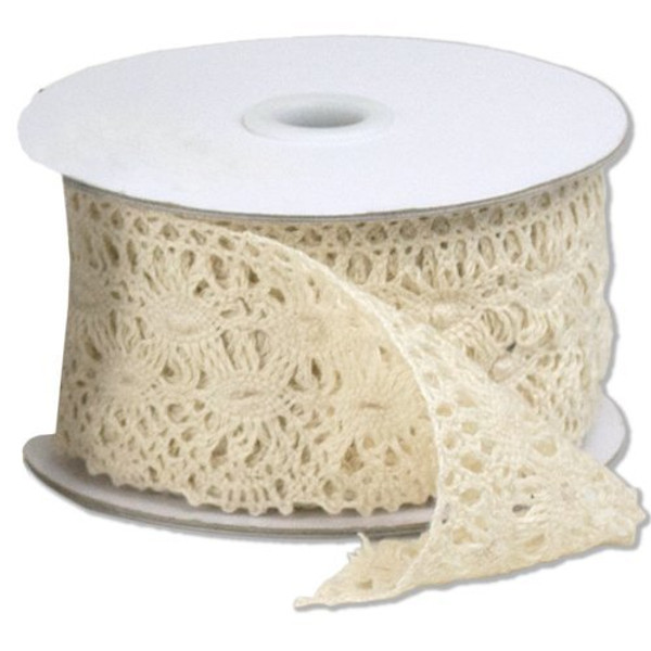 """2 1/3"""" wide x 10 yards Ivory Floral Pattern Cotton Crochet Lace Ribbon for Decorating, Floral Designing and Crafts"""