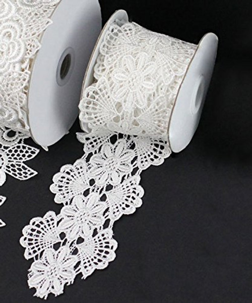 "2 3/4"" x 5 Yards Floral Lace Crochet Ribbon (Ivory)"